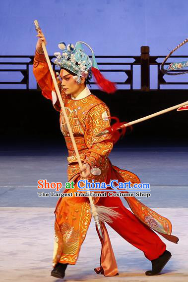 Liu Jinding Chinese Guangdong Opera Soldier Apparels Costumes and Headwear Traditional Cantonese Opera Wusheng Garment Warrior Clothing