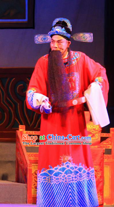 Fifteen Strings of Cash Chinese Guangdong Opera Official Kuang Zhong Apparels Costumes and Headwear Traditional Cantonese Opera Laosheng Garment Prefect Clothing