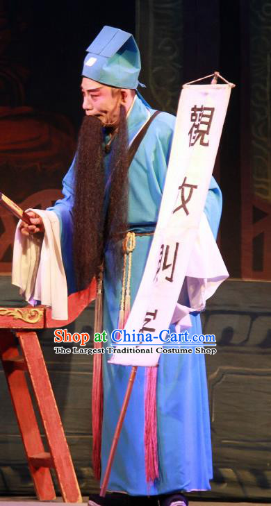 Fifteen Strings of Cash Chinese Guangdong Opera Fortuneteller Apparels Costumes and Headwear Traditional Cantonese Opera Elderly Male Garment Laosheng Clothing