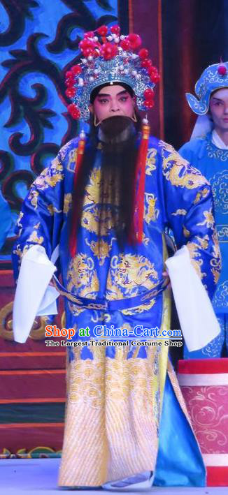 Chinese Guangdong Opera Laosheng Apparels Costumes and Headwear Traditional Cantonese Opera Elderly Male Garment Prefecture Blue Clothing