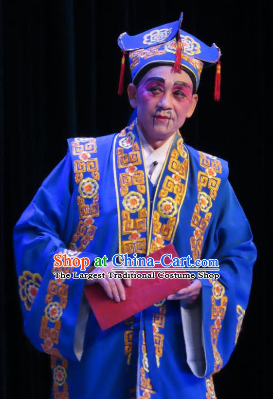Chinese Guangdong Opera Rich Male Apparels Costumes and Headwear Traditional Cantonese Opera Clown Garment Bully Blue Clothing