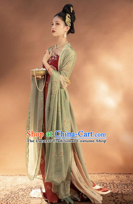 Chinese Traditional Tang Dynasty Noble Female Apparels Ancient Imperial Consort Embroidered Hanfu Dress Historical Costumes Complete Set