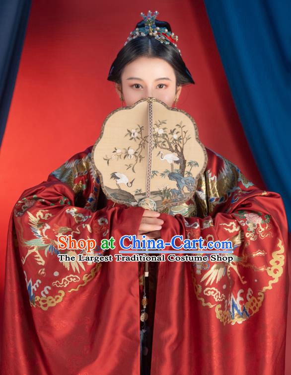 Chinese Traditional Ming Dynasty Wedding Embroidered Apparels Ancient Noble Woman Hanfu Dress Bride Historical Costumes Complete Set