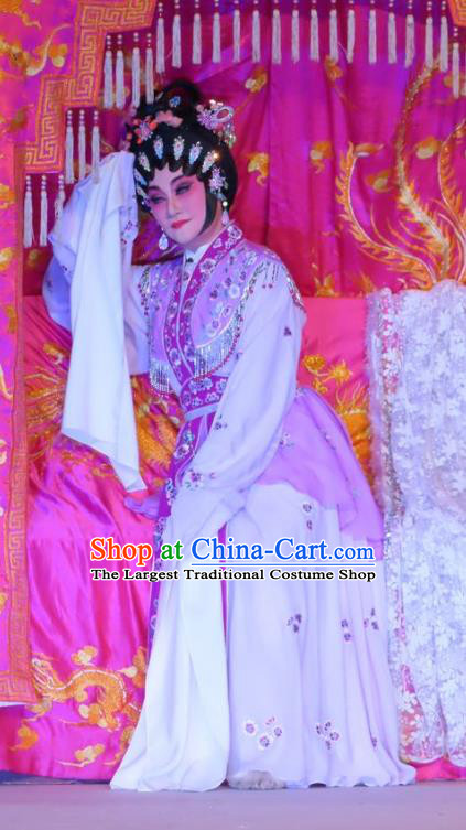 Chinese Cantonese Opera Courtesan Wang Meiniang Garment Costumes and Headdress Traditional Guangdong Opera Hua Tan Apparels Young Beauty Dress