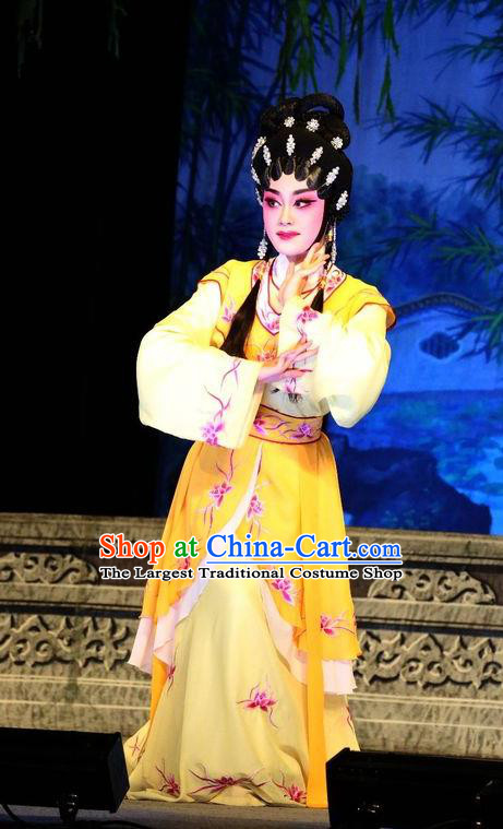 Chinese Cantonese Opera Young Beauty Garment Costumes and Headdress Traditional Guangdong Opera Actress Apparels Hua Tan Yellow Dress