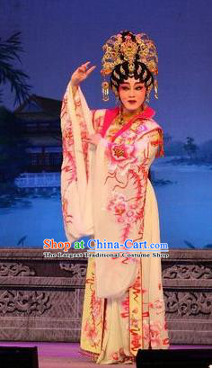 Chinese Cantonese Opera Young Female Garment Costumes and Headdress Traditional Guangdong Opera Hua Tan Apparels Princess Dress
