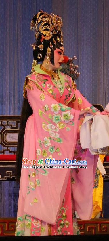 Chinese Cantonese Opera Hua Tan Garment Costumes and Headdress Traditional Guangdong Opera Young Female Apparels Princess Pink Dress