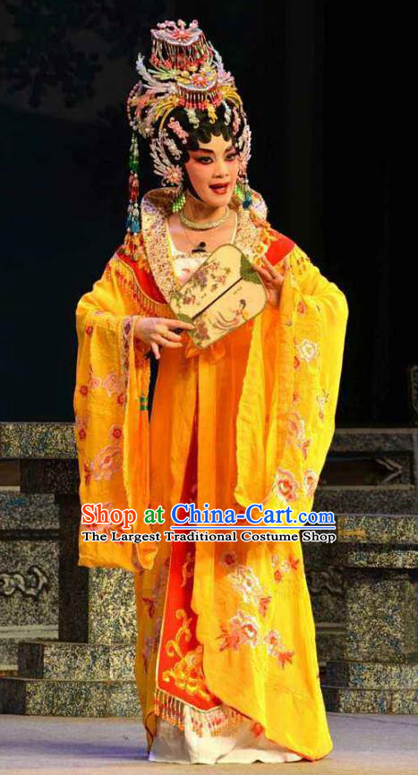 Chinese Cantonese Opera Royal Princess Garment Costumes and Headdress Traditional Guangdong Opera Court Woman Apparels Hua Tan Dress