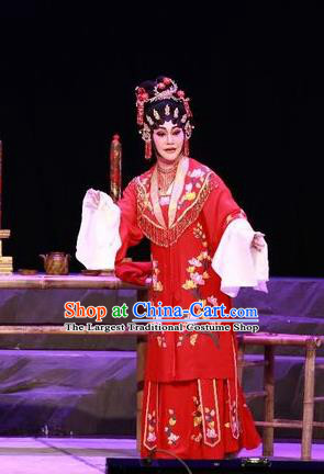 Chinese Cantonese Opera Bride Garment the Legend of Gold Rice Costumes and Headdress Traditional Guangdong Opera Young Female Apparels Diva Shi Hua Red Dress