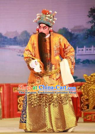 Wu Suo Dong Gong Chinese Guangdong Opera Monarch Apparels Costumes and Headwear Traditional Cantonese Opera Emperor Garment Elderly Male Clothing