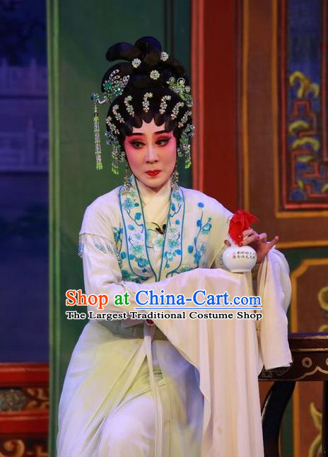Chinese Cantonese Opera Diva Garment Wu Suo Dong Gong Costumes and Headdress Traditional Guangdong Opera Young Female Apparels Actress Wei Biniang Dress