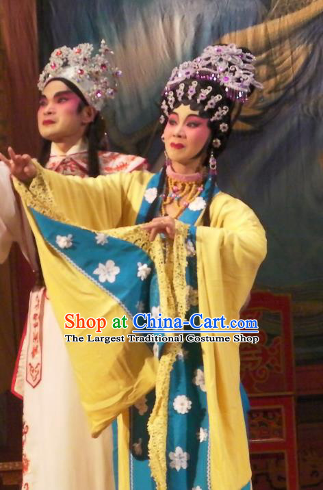 Chinese Cantonese Opera Actress Garment Wu Suo Dong Gong Costumes and Headdress Traditional Guangdong Opera Young Woman Apparels Princess Consort Dress