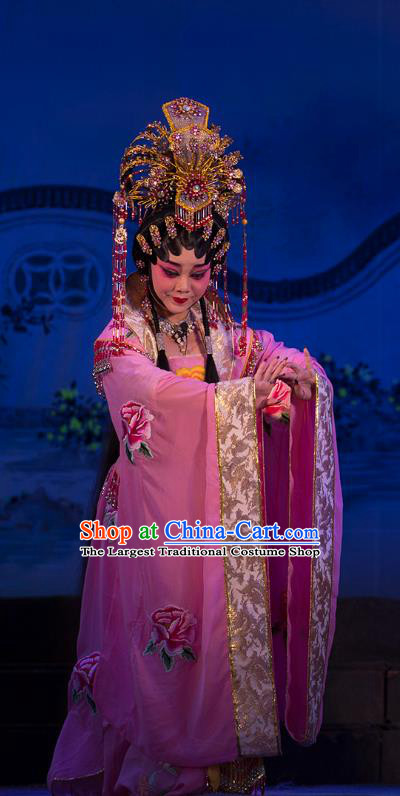 Chinese Cantonese Opera Empress Garment Wu Suo Dong Gong Costumes and Headdress Traditional Guangdong Opera Young Woman Apparels Queen Dress