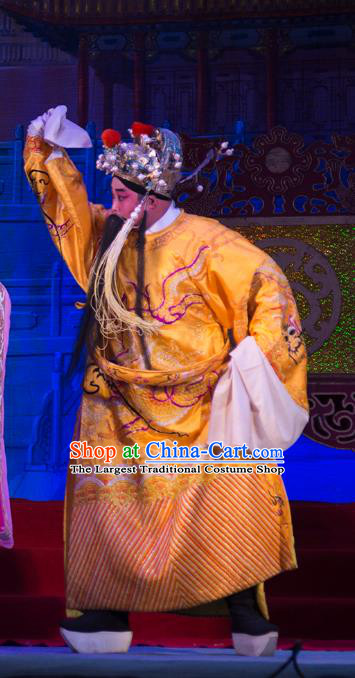 Wu Suo Dong Gong Chinese Guangdong Opera Emperor Apparels Costumes and Headwear Traditional Cantonese Opera Laosheng Garment Monarch Clothing