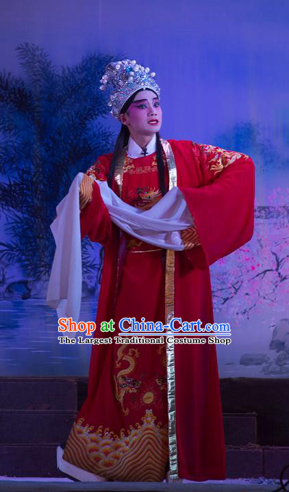 Wu Suo Dong Gong Chinese Guangdong Opera Prince Apparels Costumes and Headwear Traditional Cantonese Opera Young Male Garment Niche Clothing