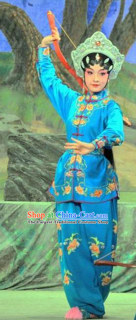 Chinese Cantonese Opera Martial Female Garment The Sword Costumes and Headdress Traditional Guangdong Opera Swordswoman Apparels Wudan Blue Dress