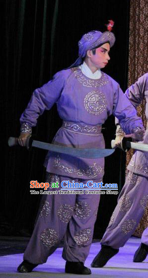 The Sword Chinese Guangdong Opera Wusheng Apparels Costumes and Headwear Traditional Cantonese Opera Soldier Garment Warrior Purple Clothing