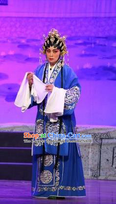 Chinese Cantonese Opera Rich Dame Garment Feng Guan Meng Costumes and Headdress Traditional Guangdong Opera Actress Apparels Mistress Blue Dress