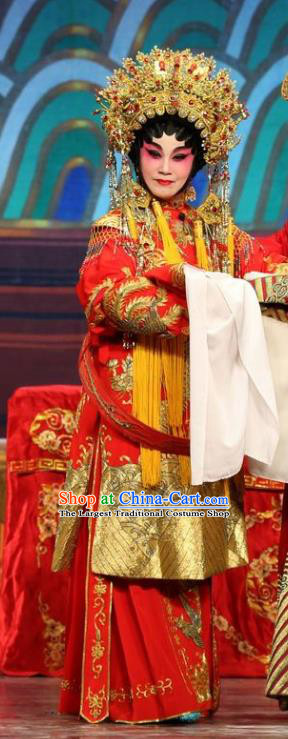 Chinese Cantonese Opera Hua Tan Garment Feng Guan Meng Costumes and Headdress Traditional Guangdong Opera Actress Apparels Bride Li Yue E Red Dress