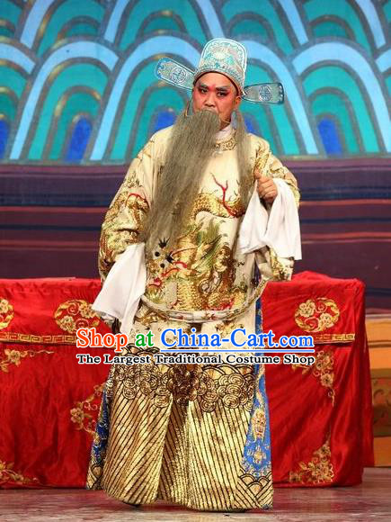Feng Guan Meng Chinese Guangdong Opera Official Li Yuanshun Apparels Costumes and Headwear Traditional Cantonese Opera Laosheng Garment Elderly Male Clothing