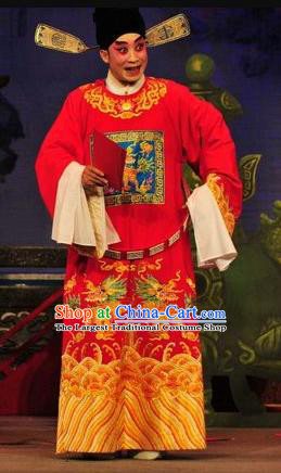 Shi Zou Yan Song Chinese Guangdong Opera Young Male Apparels Costumes and Headwear Traditional Cantonese Opera Garment Number One Scholar Hai Rui Clothing
