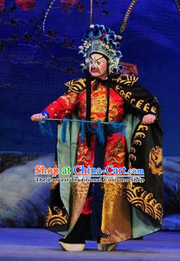 Shi Zou Yan Song Chinese Guangdong Opera Martial Male Apparels Costumes and Headwear Traditional Cantonese Opera Painted Role Garment General Clothing