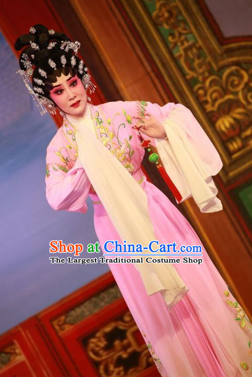 Chinese Cantonese Opera Hua Tan Garment Wu Suo Dong Gong Costumes and Headdress Traditional Guangdong Opera Young Female Apparels Diva Wei Biniang Dress