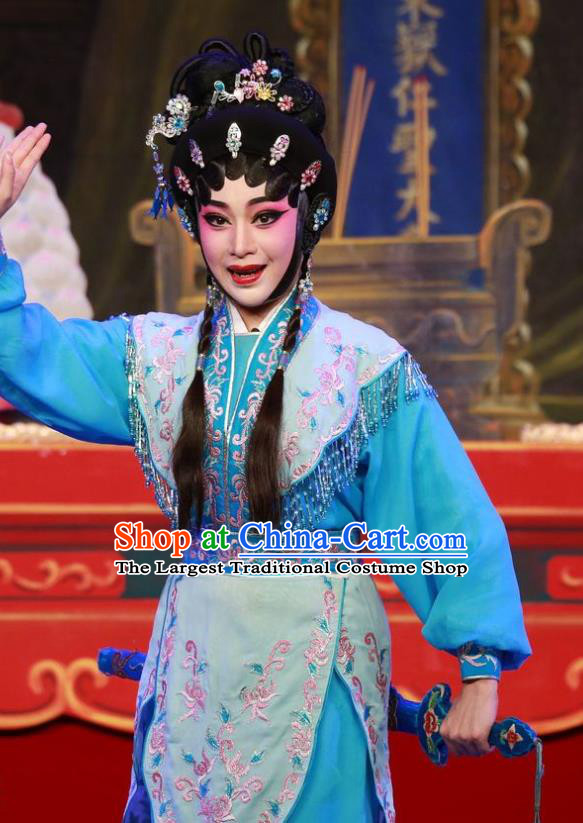 Chinese Cantonese Opera Martial Female Garment San Kan Yu Mei Costumes and Headdress Traditional Guangdong Opera Swordswoman Apparels Wudan Liu Jinding Dress