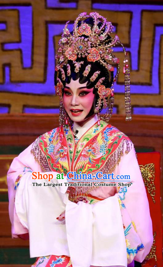 Chinese Cantonese Opera Princess Garment San Kan Yu Mei Costumes and Headdress Traditional Guangdong Opera Hua Tan Apparels Diva Liu Jinding Dress