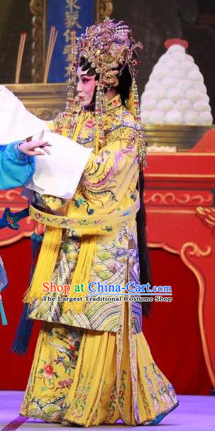 Chinese Cantonese Opera Empress Garment San Kan Yu Mei Costumes and Headdress Traditional Guangdong Opera Actress Apparels Queen Yellow Dress