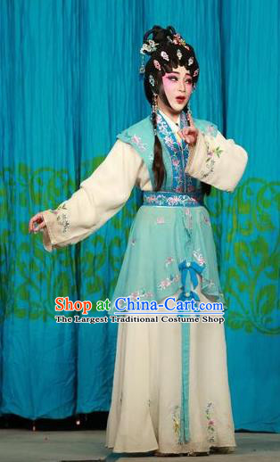 Chinese Cantonese Opera Xiaodan Garment San Kan Yu Mei Costumes and Headdress Traditional Guangdong Opera Young Lady Apparels Servant Girl Green Dress