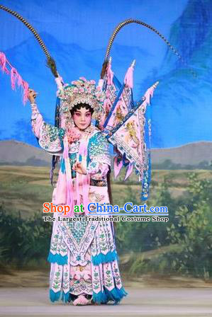 Chinese Cantonese Opera Tao Ma Tan Garment San Kan Yu Mei Costumes and Headdress Traditional Guangdong Opera Blues Apparels Female General Liu Jinding Dress with Flags