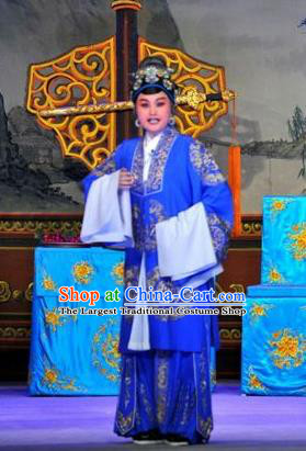 Chinese Cantonese Opera Elderly Female Garment The Sword Costumes and Headdress Traditional Guangdong Opera Dame Apparels Pantaloon Blue Dress