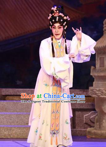 Chinese Cantonese Opera Actress Garment Nu Chuang Jin Dian Costumes and Headdress Traditional Guangdong Opera Diva Apparels Young Female Dress