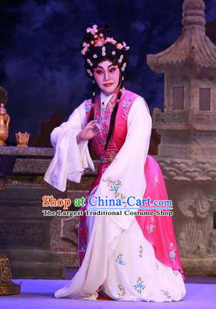 Chinese Cantonese Opera Actress Rosy Garment Nu Chuang Jin Dian Costumes and Headdress Traditional Guangdong Opera Diva Apparels Young Female Dress