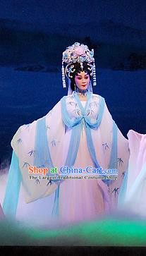 Chinese Cantonese Opera Fairy Garment Dongpo And Zhaoyun Costumes and Headdress Traditional Guangdong Opera Diva Apparels Young Female Dress