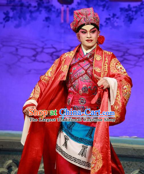 Qing Hua Pan Jinlian Chinese Guangdong Opera Martial Male Apparels Costumes and Headwear Traditional Cantonese Opera Hero Garment Wusheng Wu Song Clothing