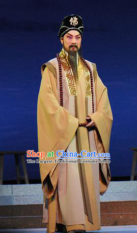 Dongpo And Zhaoyun Chinese Guangdong Opera Monk Apparels Costumes and Headwear Traditional Cantonese Opera Laosheng Garment Elderly Male Clothing