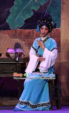 Chinese Cantonese Opera Young Female Garment Costumes and Headdress Traditional Guangdong Opera Actress Apparels Diva Lin Niang Blue Dress