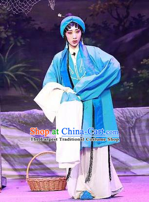 Chinese Cantonese Opera Country Woman Garment Costumes and Headdress Traditional Guangdong Opera Actress Apparels Young Female Blue Dress
