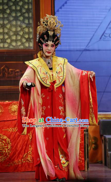 Chinese Cantonese Opera Queen Garment Li Shimin Deng Ji Costumes and Headdress Traditional Guangdong Opera Young Female Apparels Empress Red Dress