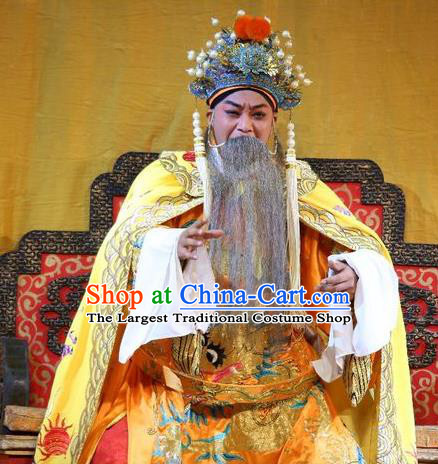 Li Shimin Deng Ji Chinese Guangdong Opera Elderly Male Apparels Costumes and Headwear Traditional Cantonese Opera Monarch Garment Emperor Li Yuan Clothing