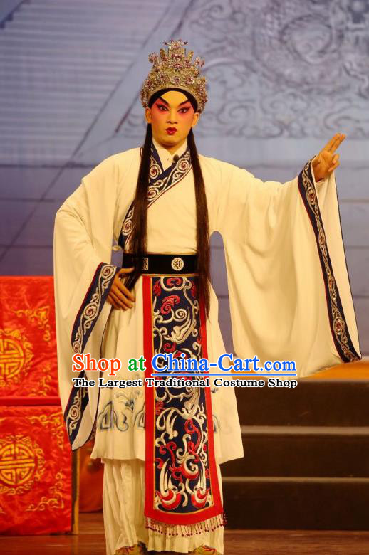Li Shimin Deng Ji Chinese Guangdong Opera Xiaosheng Apparels Costumes and Headwear Traditional Cantonese Opera Prince Garment Young Male Clothing