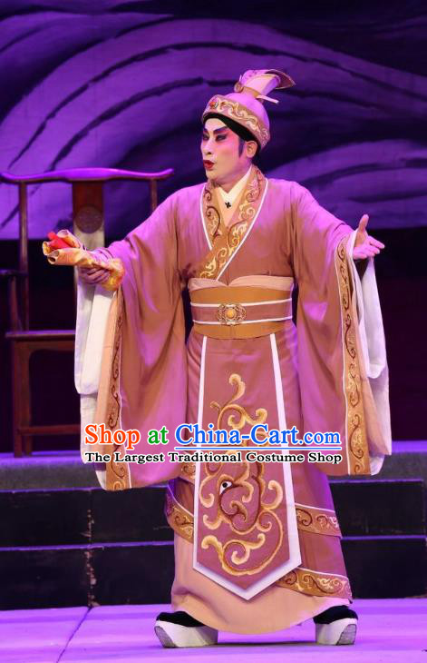 Pan Maoming Chinese Guangdong Opera Magistrate Apparels Costumes and Headwear Traditional Cantonese Opera Minister Garment Official Clothing