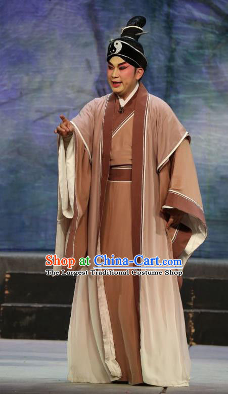 Pan Maoming Chinese Guangdong Opera Young Male Apparels Costumes and Headwear Traditional Cantonese Opera Xiaosheng Garment Taoist Clothing