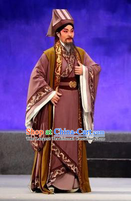 Pan Maoming Chinese Guangdong Opera Elderly Male Apparels Costumes and Headwear Traditional Cantonese Opera Laosheng Garment Physician Clothing