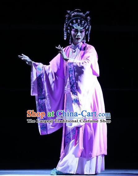 Chinese Cantonese Opera Hua Tan Garment Pan Maoming Costumes and Headdress Traditional Guangdong Opera Actress Apparels Young Mistress Pink Dress
