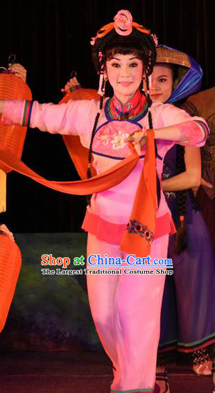 Chinese Cantonese Opera Village Girl Garment Dan Jia Nv Costumes and Headdress Traditional Guangdong Opera Fisher Maiden Apparels Young Lady Shui Mei Dress