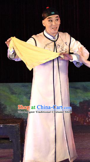 Dan Jia Nv Chinese Guangdong Opera Young Male Apparels Costumes and Headwear Traditional Cantonese Opera Xiaosheng Garment Childe He Huisheng Clothing