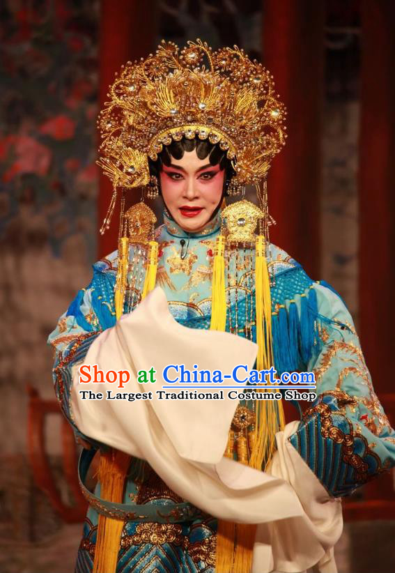 Chinese Cantonese Opera Imperial Empress Garment Dan Jia Nv Costumes and Headdress Traditional Guangdong Opera Hua Tan Apparels Queen Blue Dress